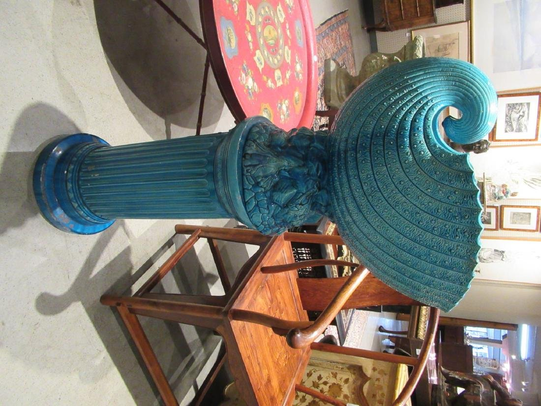Burmantofts Blue Faience Jardiniere and Stand - 2