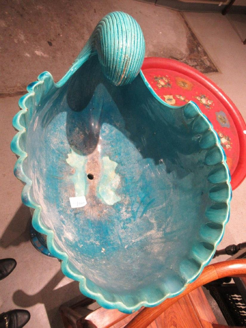 Burmantofts Blue Faience Jardiniere and Stand - 4