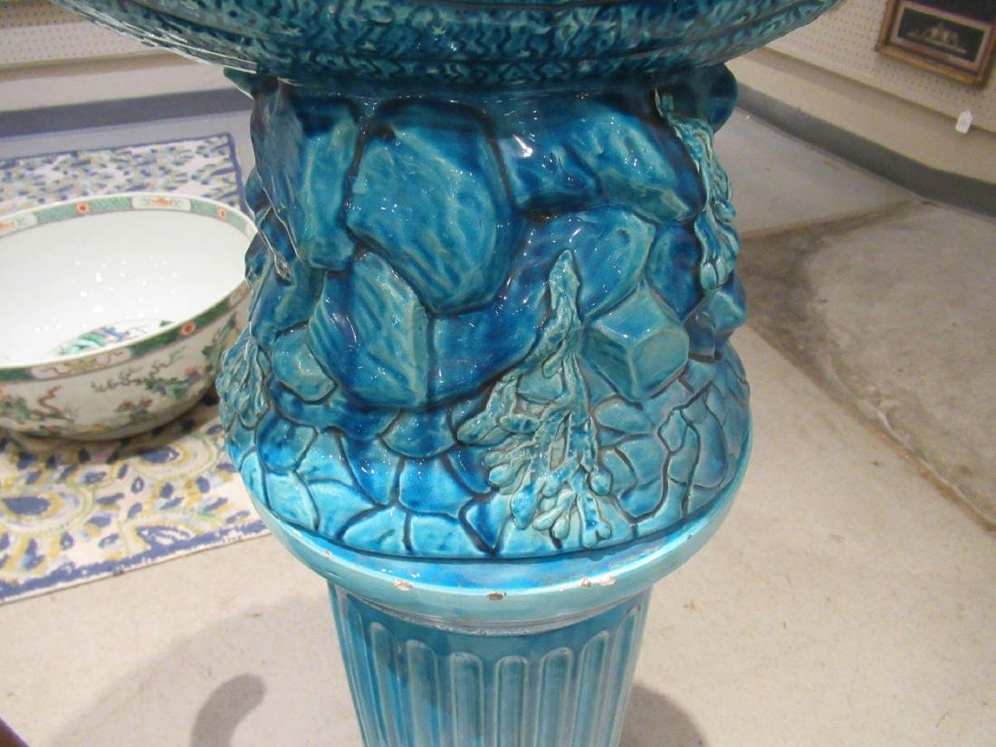 Burmantofts Blue Faience Jardiniere and Stand - 7