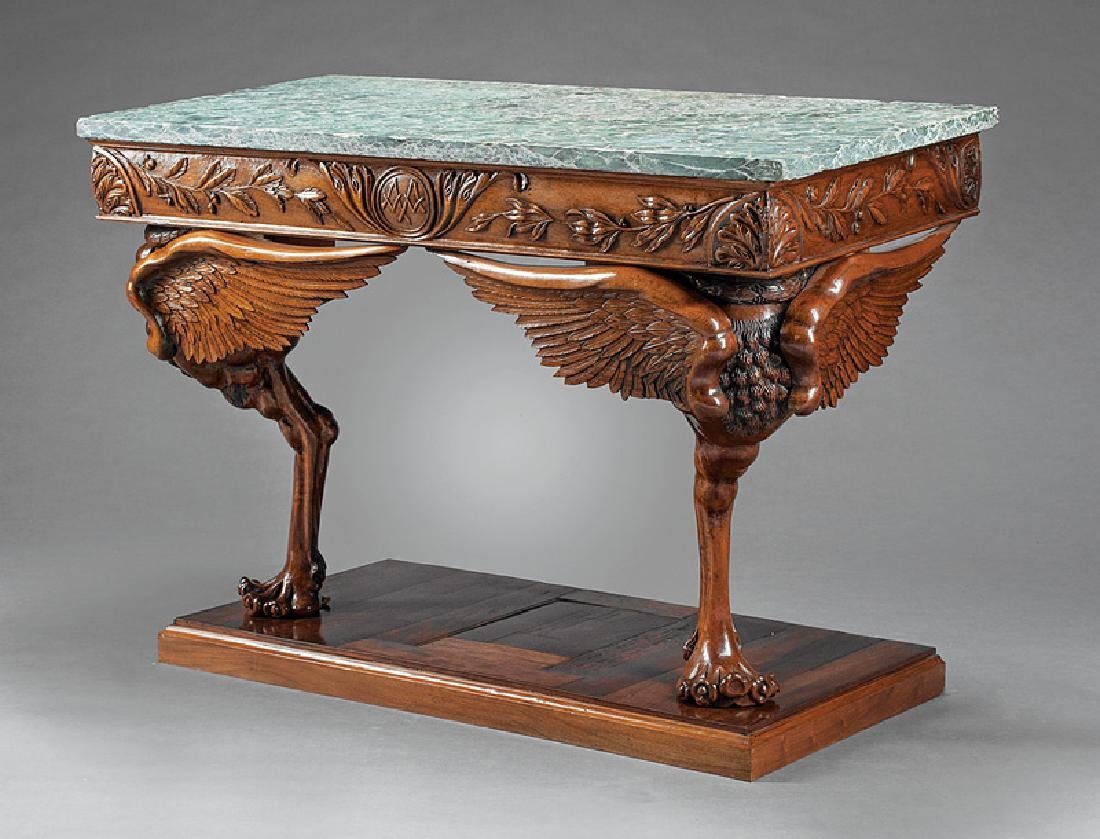 Antique Continental Carved Walnut Console Table