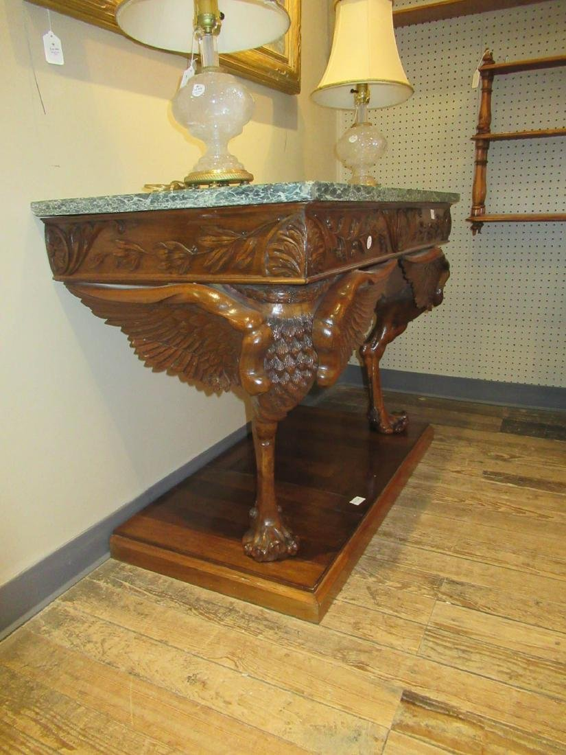 Antique Continental Carved Walnut Console Table - 2