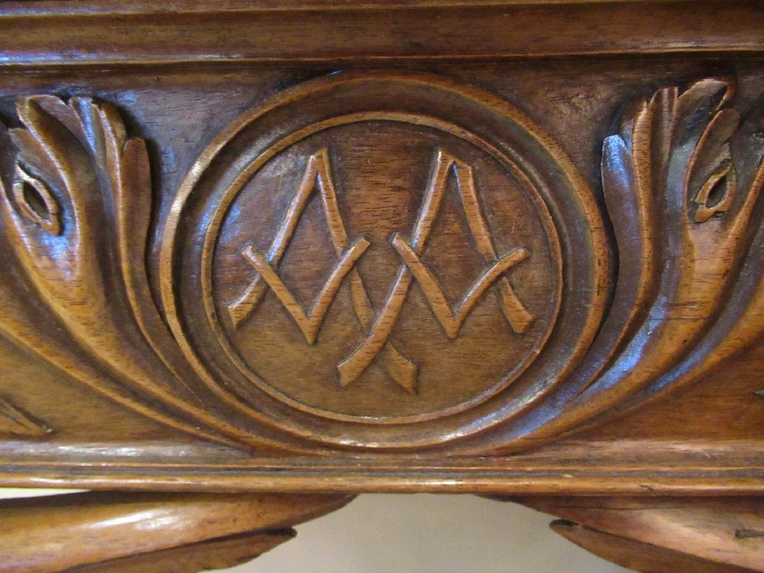 Antique Continental Carved Walnut Console Table - 3