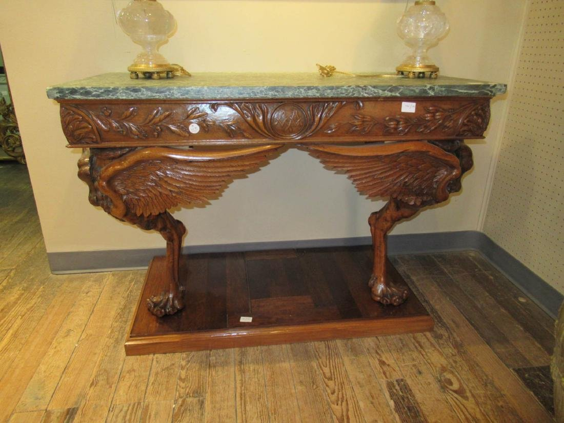 Antique Continental Carved Walnut Console Table - 8