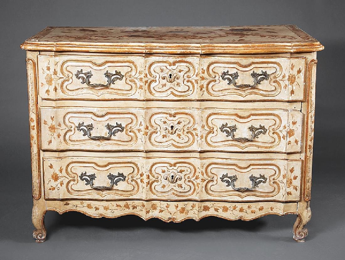 Louis XV Parcel Gilt and Painted Walnut Commode