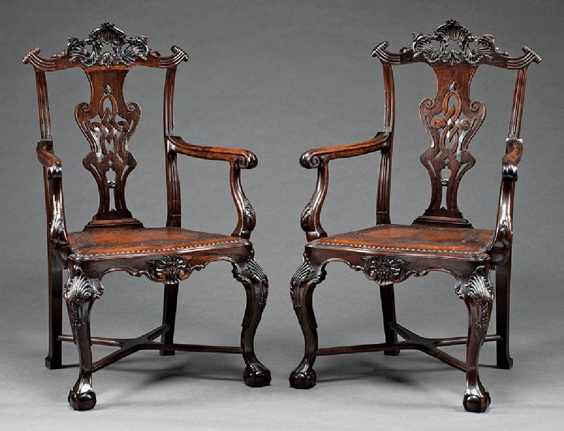 Portuguese Colonial Carved Rosewood Armchairs
