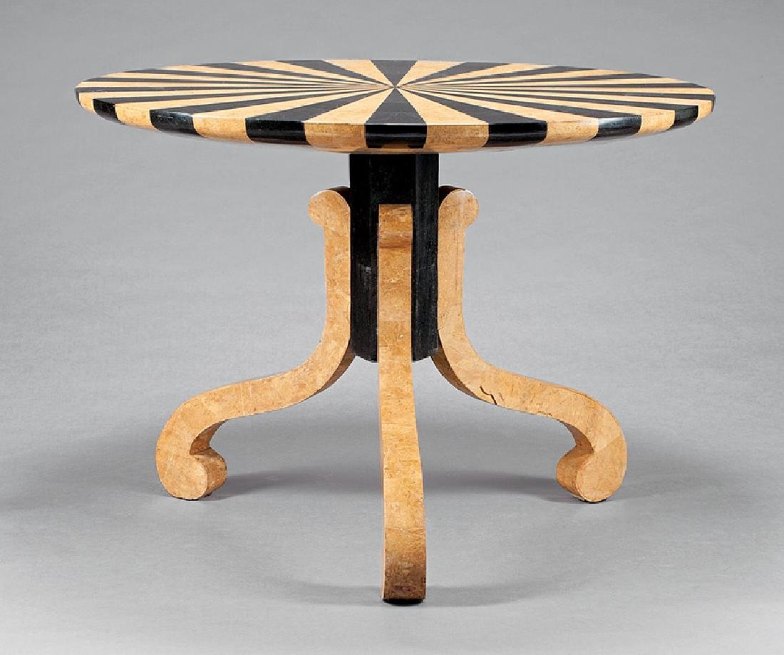 Art Moderne Sienna and Black Marble Center Table