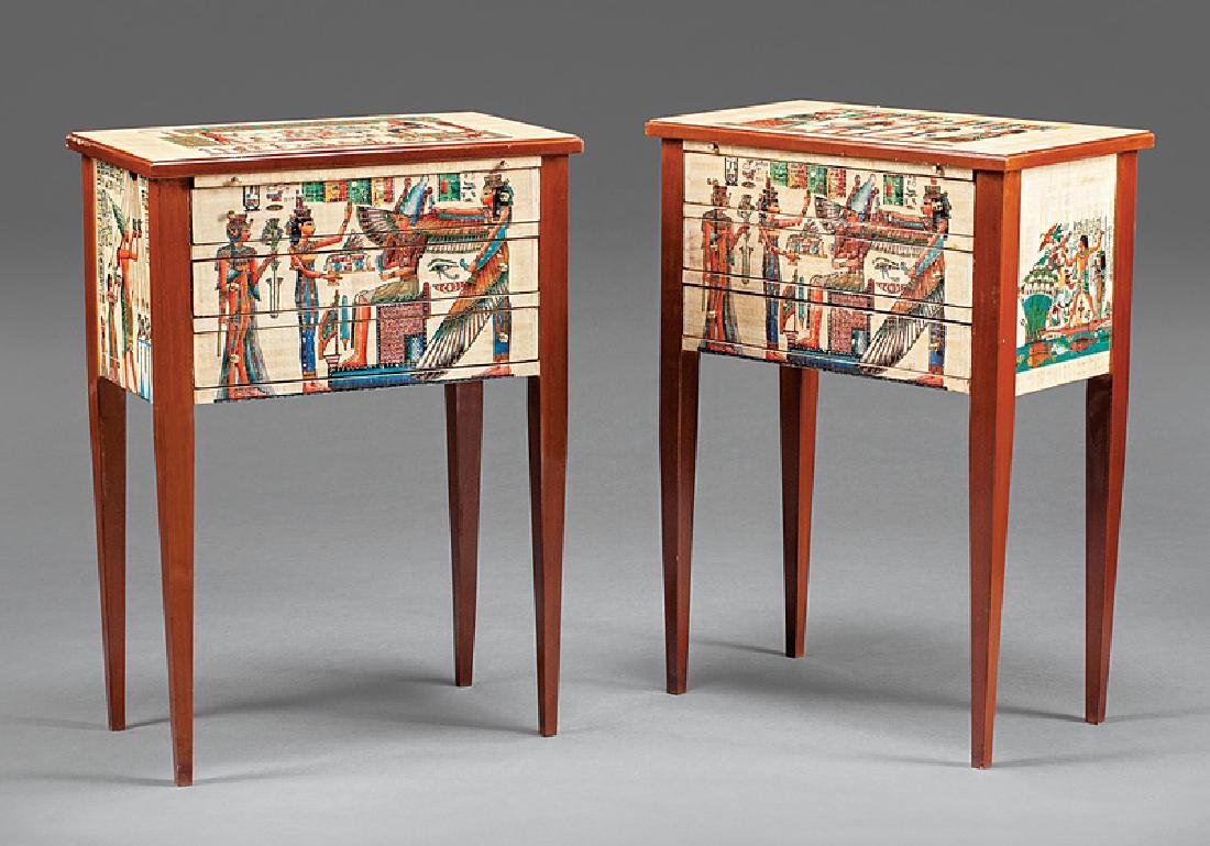 Pair of Egyptianesque Polychromed Commodes