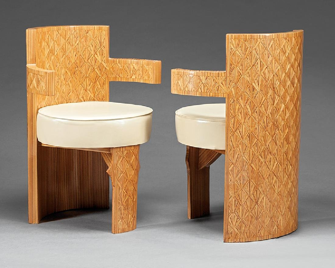 Art Moderne-Style Inlaid Barrel-Back Armchairs