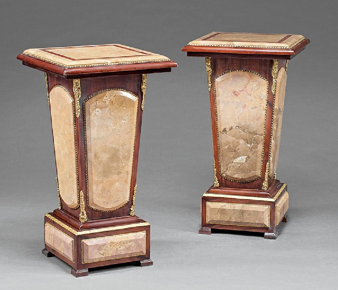 Louis XVI-Style Bronze, Marble-Mounted Pedestals