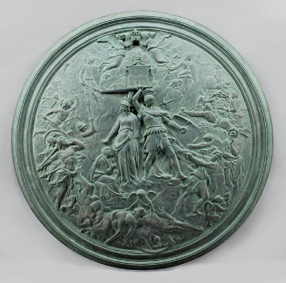 "Decorative Patinated Metal ""Pompeian"" Shield"