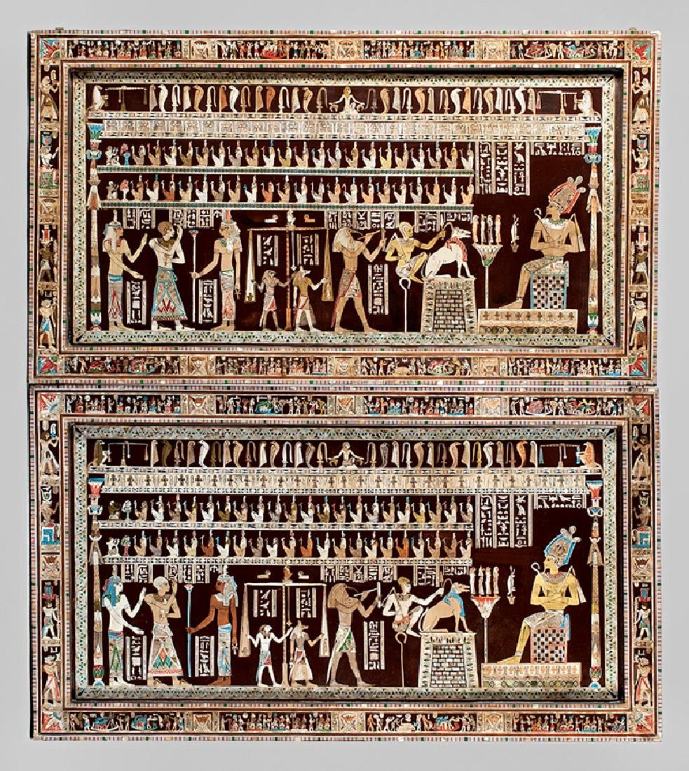 Pair of Egyptianesque Inlaid Plaques