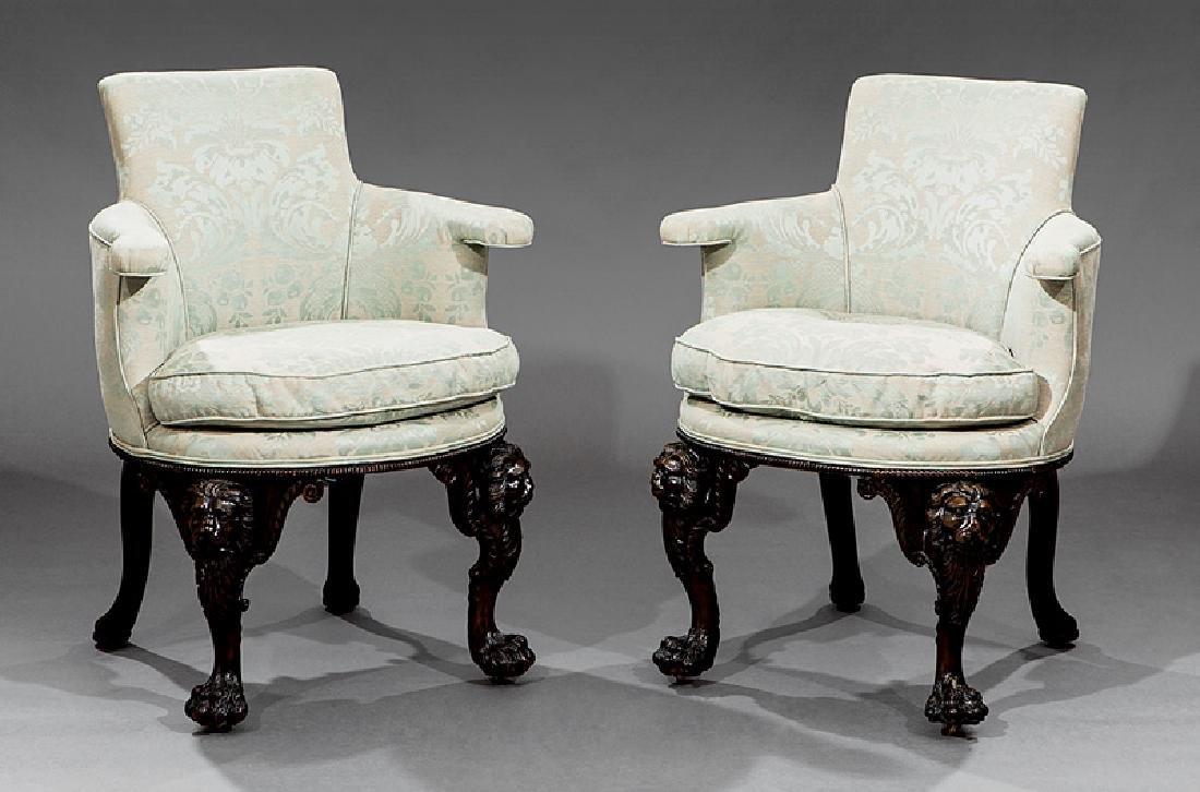 George II Highly Carved Mahogany Elbow Chairs