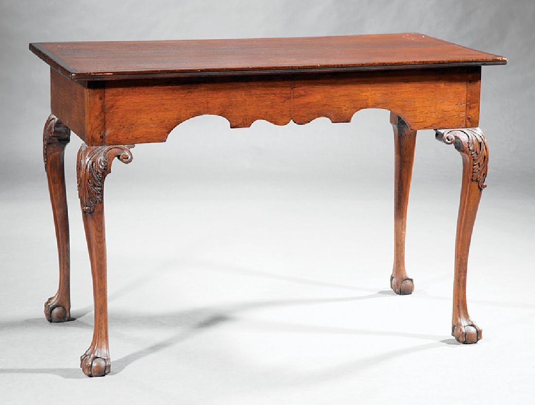 Chippendale-Style Carved Oak Console Table