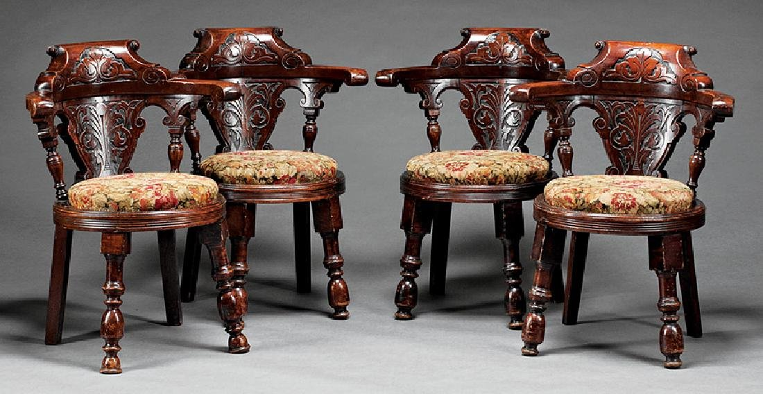 English Carved Mahogany Roundabout Chairs