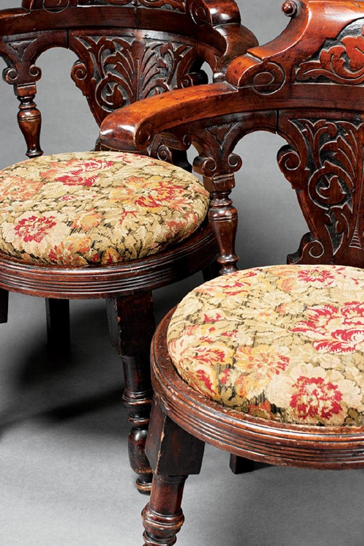 English Carved Mahogany Roundabout Chairs - 2