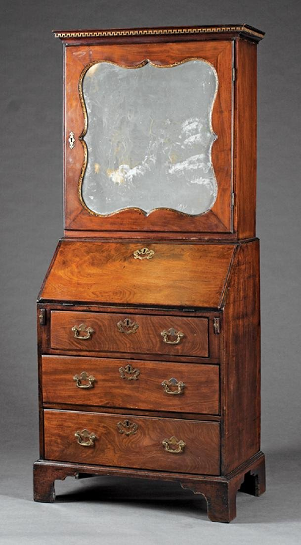 George III Carved and Parcel Gilt Mahogany Bureau
