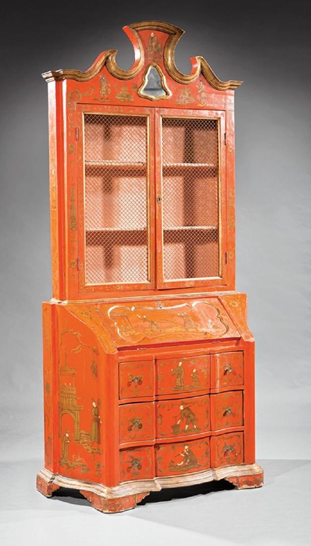 Italian Painted, Parcel Gilt Secretary Bookcase
