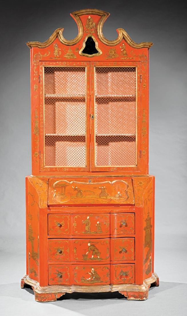 Italian Painted, Parcel Gilt Secretary Bookcase - 2