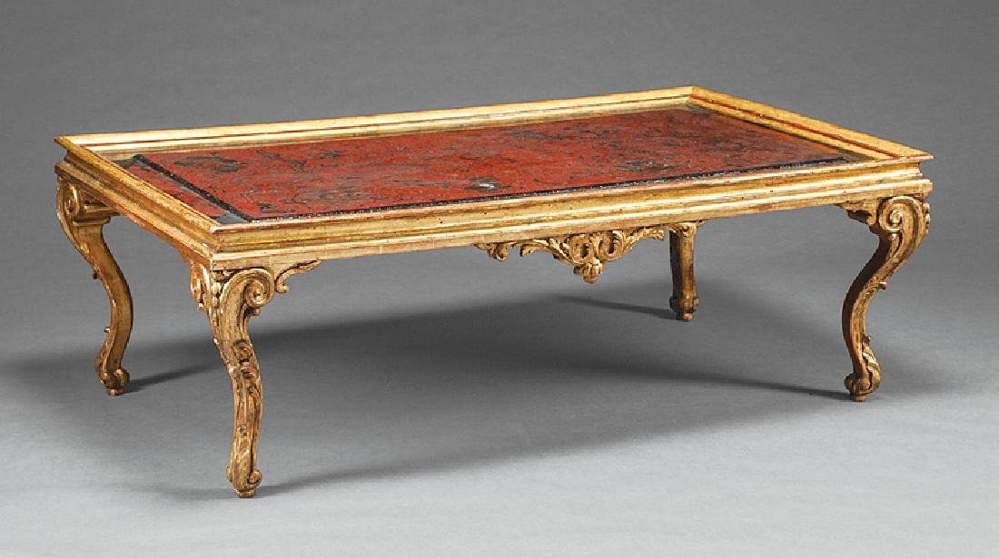 Continental Carved, Gilded Chinoiserie Low Table