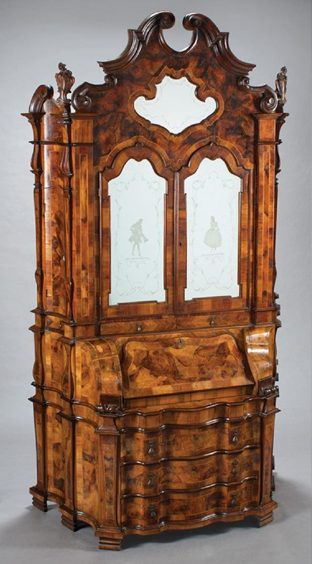 Italian Carved, Inlaid Walnut Secretaire Cabinet