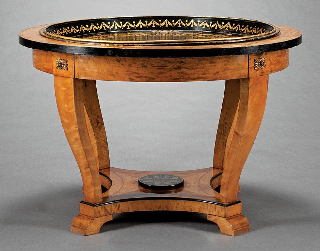 Parcel Ebonized and Birch Center Table