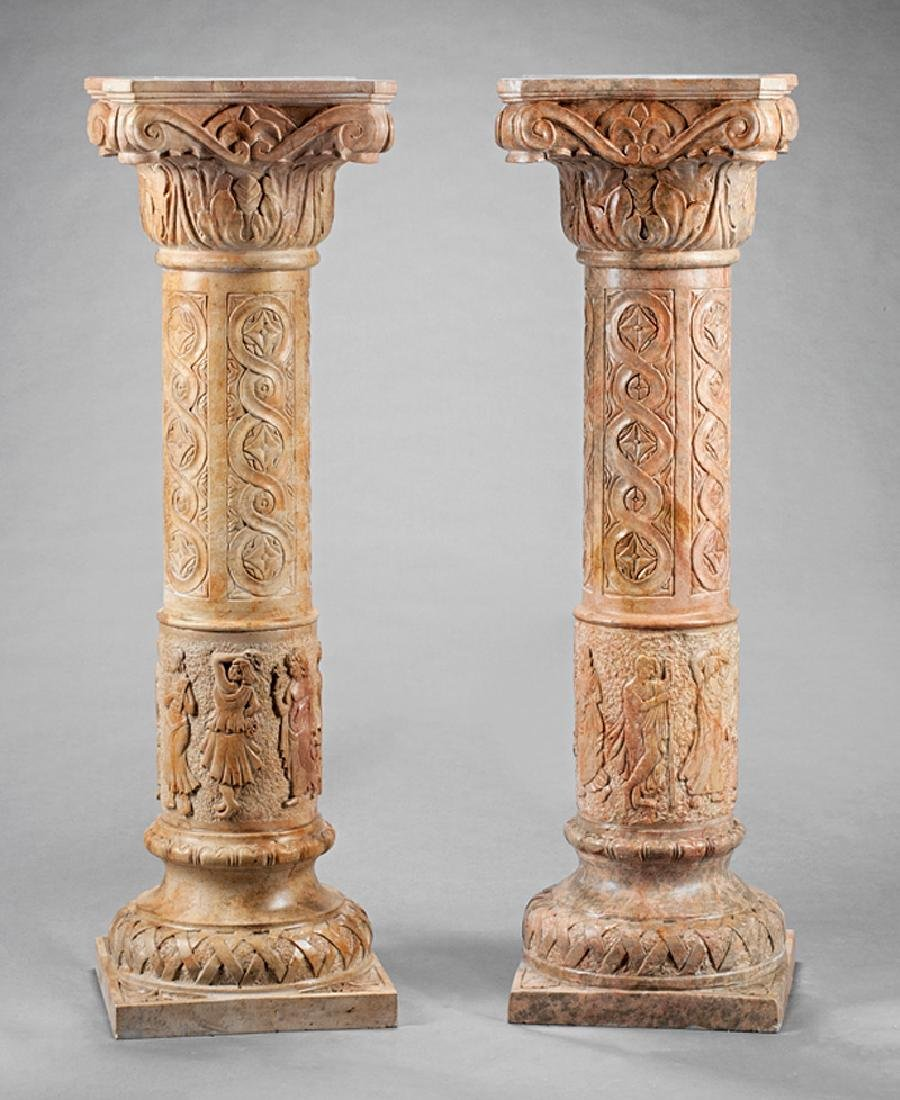 Pair of Italian Carved Marble Pedestals