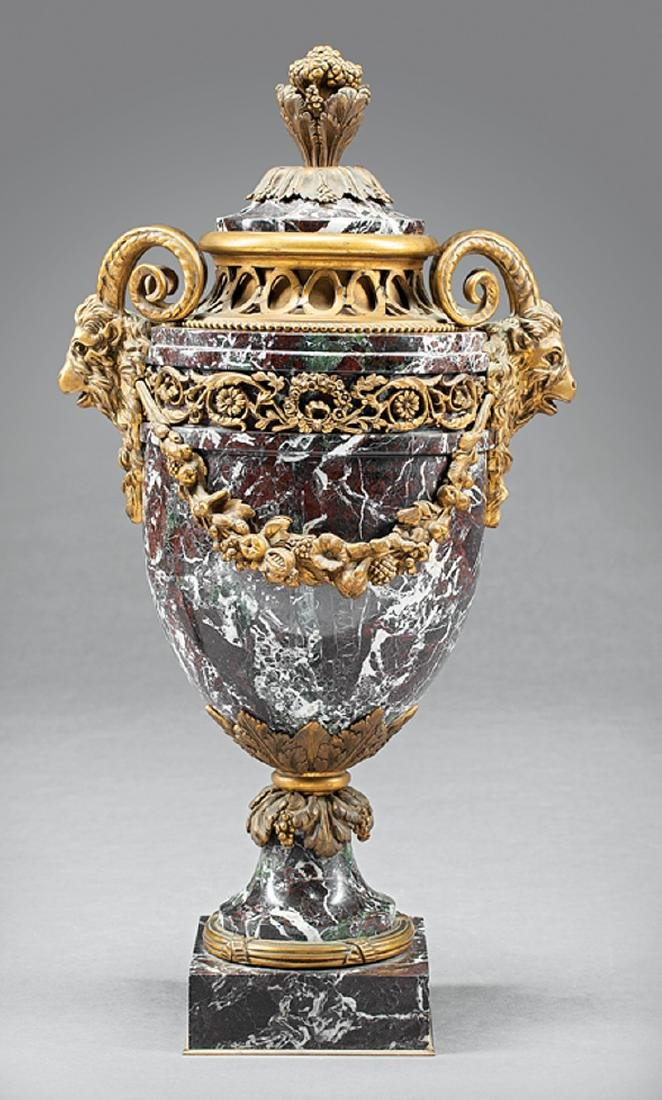 Napoleon III Rouge Marble and Bronze-Mounted Urn
