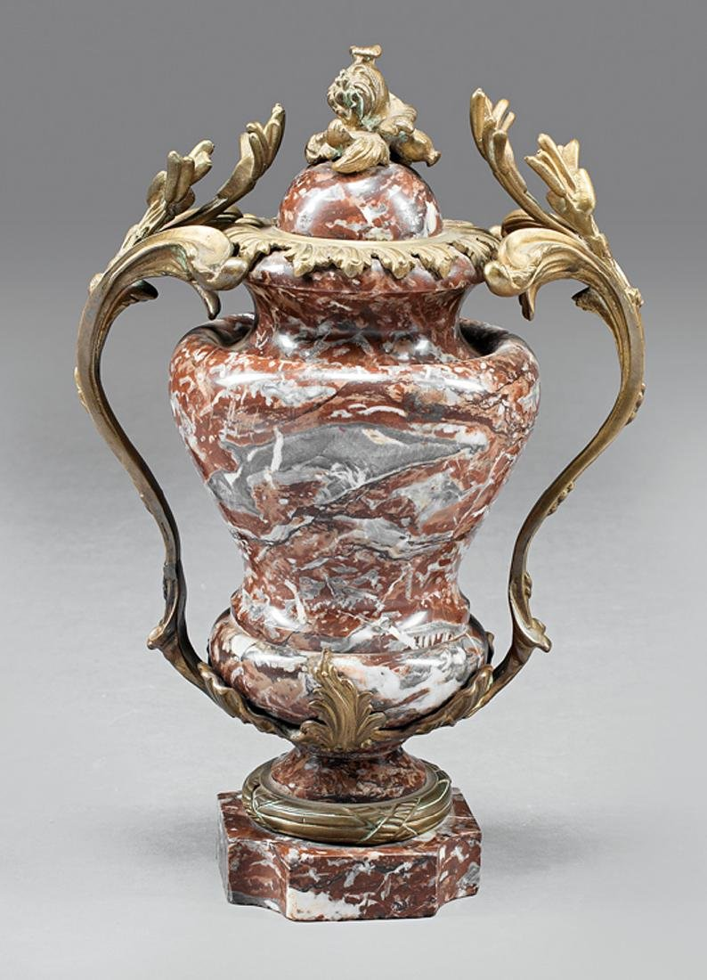 French Rouge Marble and Bronze-Mounted Cassolette