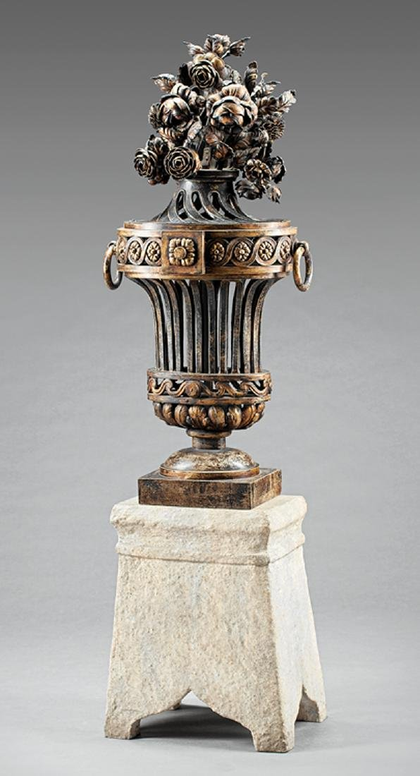 French Tole Peinte and Wrought Iron Urn