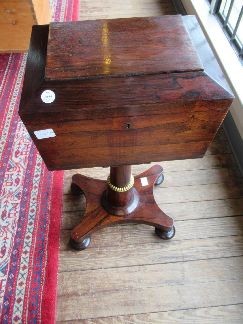 William IV Rosewood Sarcophagus-Form Teapoy - 3