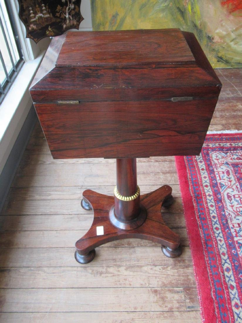 William IV Rosewood Sarcophagus-Form Teapoy - 5