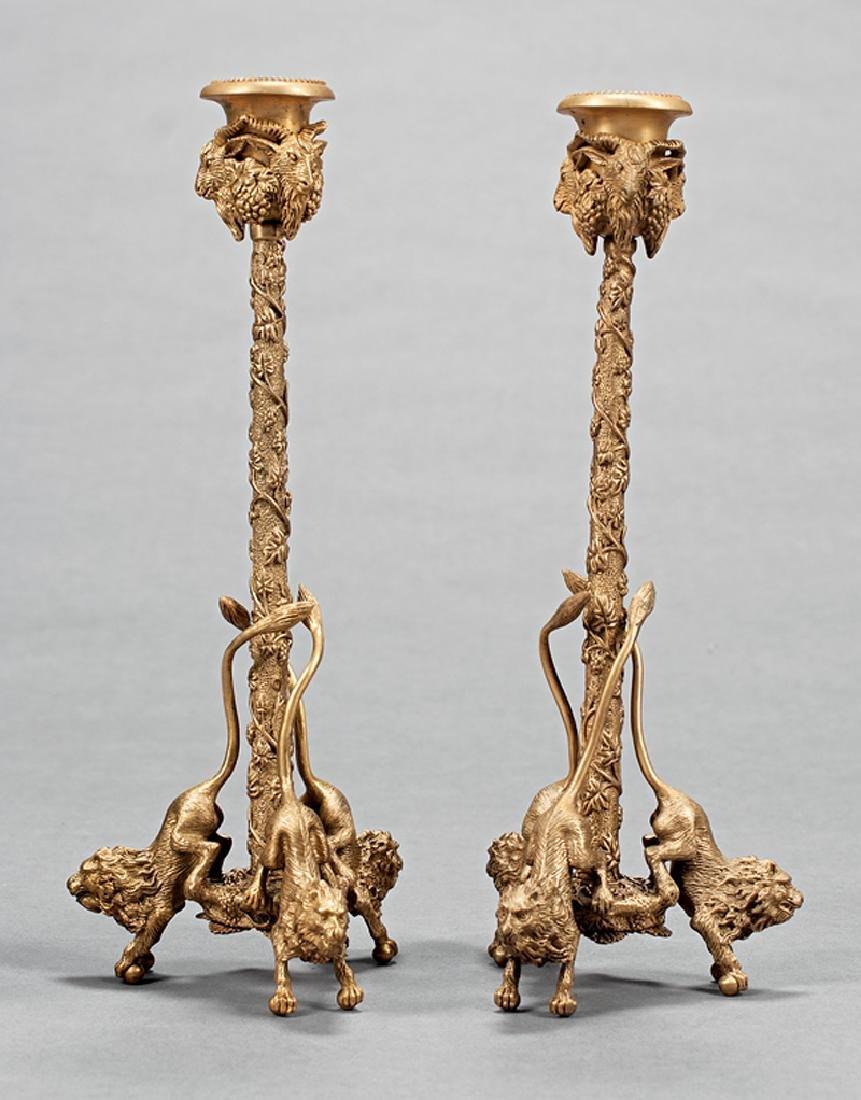 Pair of Regency-Style Gilt Bronze Candlesticks