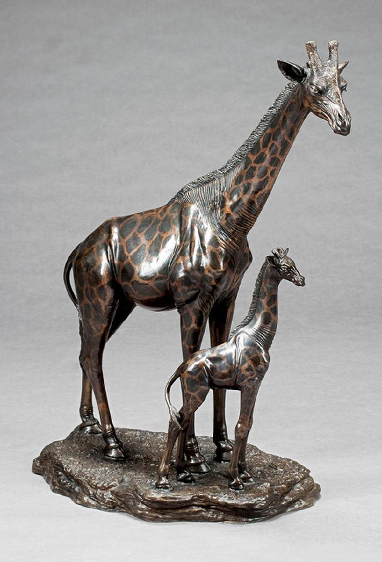 Patinated Bronze Figural of a Giraffe and Young