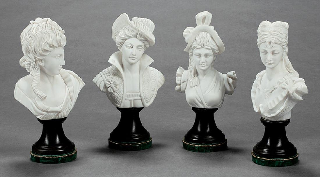Four Italian Carrara Marble Busts