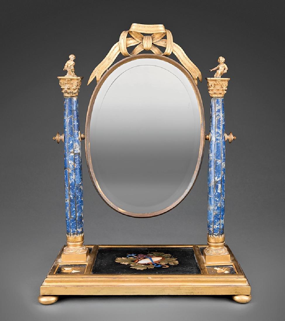 Lapis Lazuli, Pietra Dura, Gilt Bronze Mirror