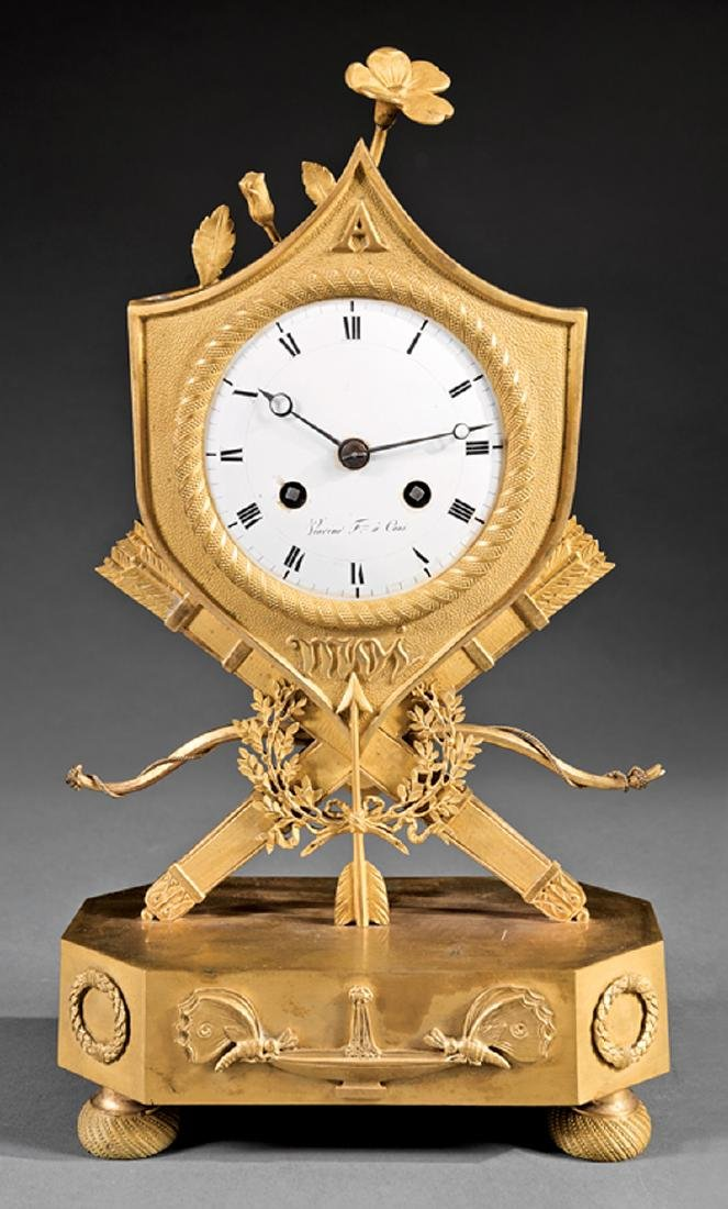 Charles X Gilt Bronze Clock