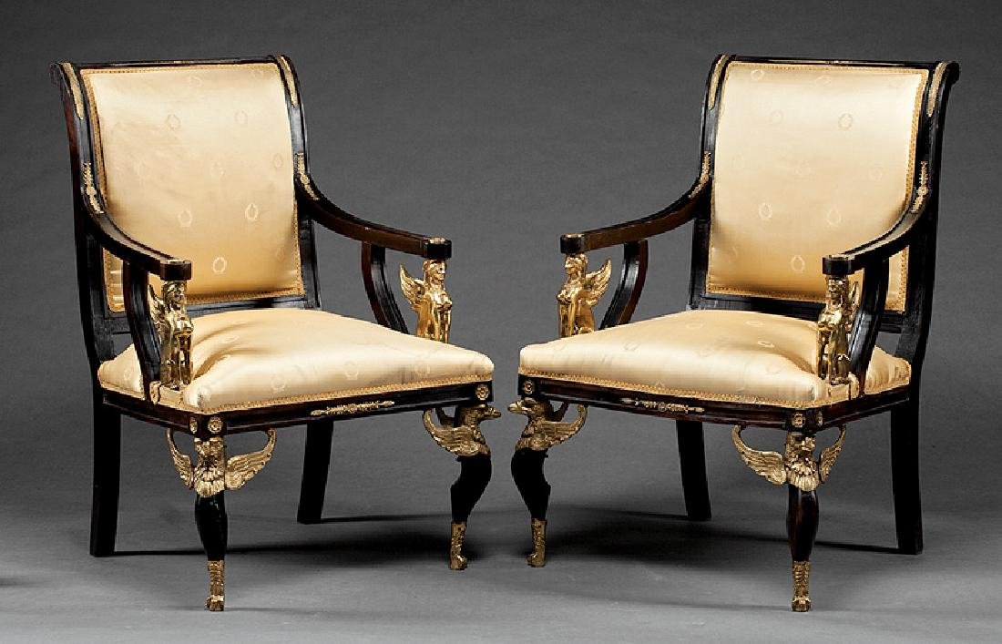Carved and Gilt Bronze-Mounted Mahogany Fauteuils - 2