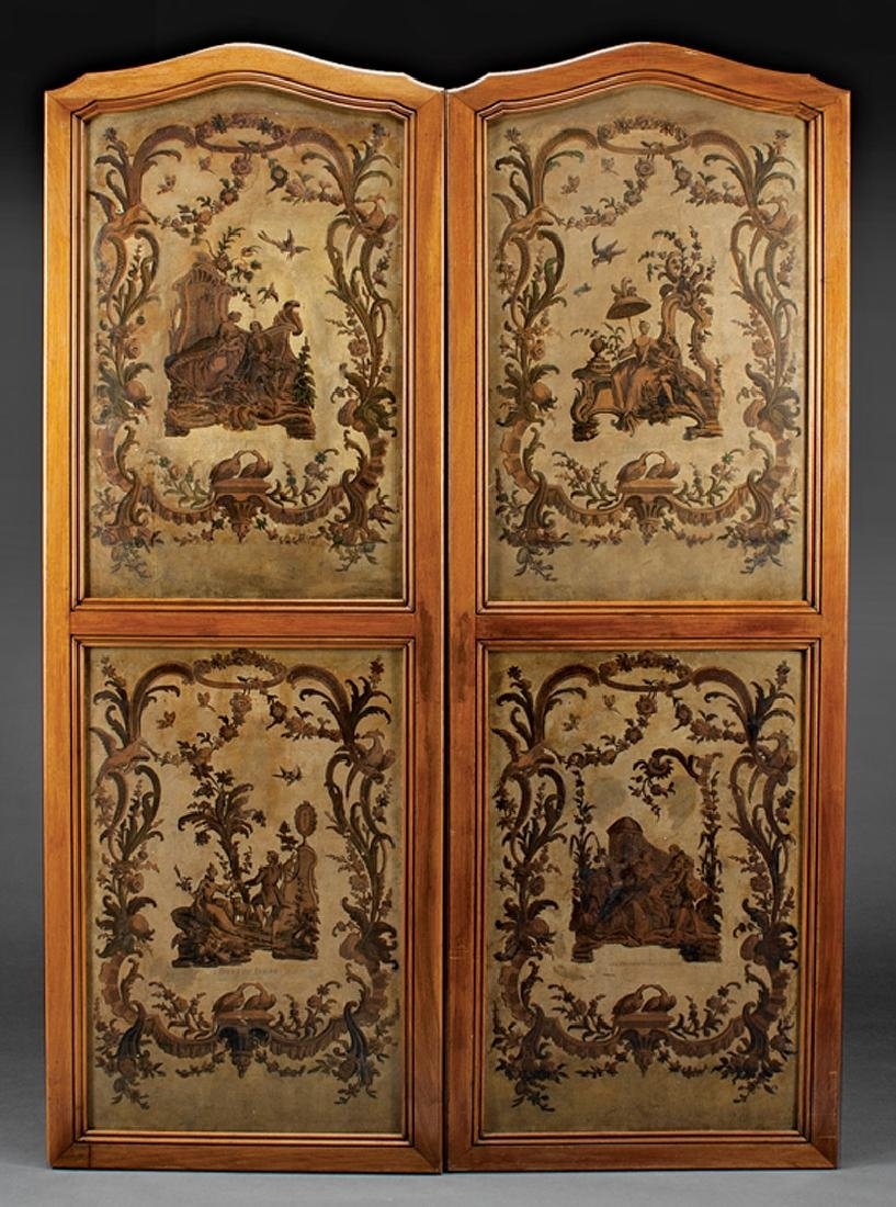 Pair of French Carved Mahogany Screens