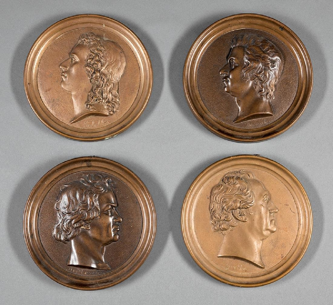 Four Antique Bronze Portrait Medallions
