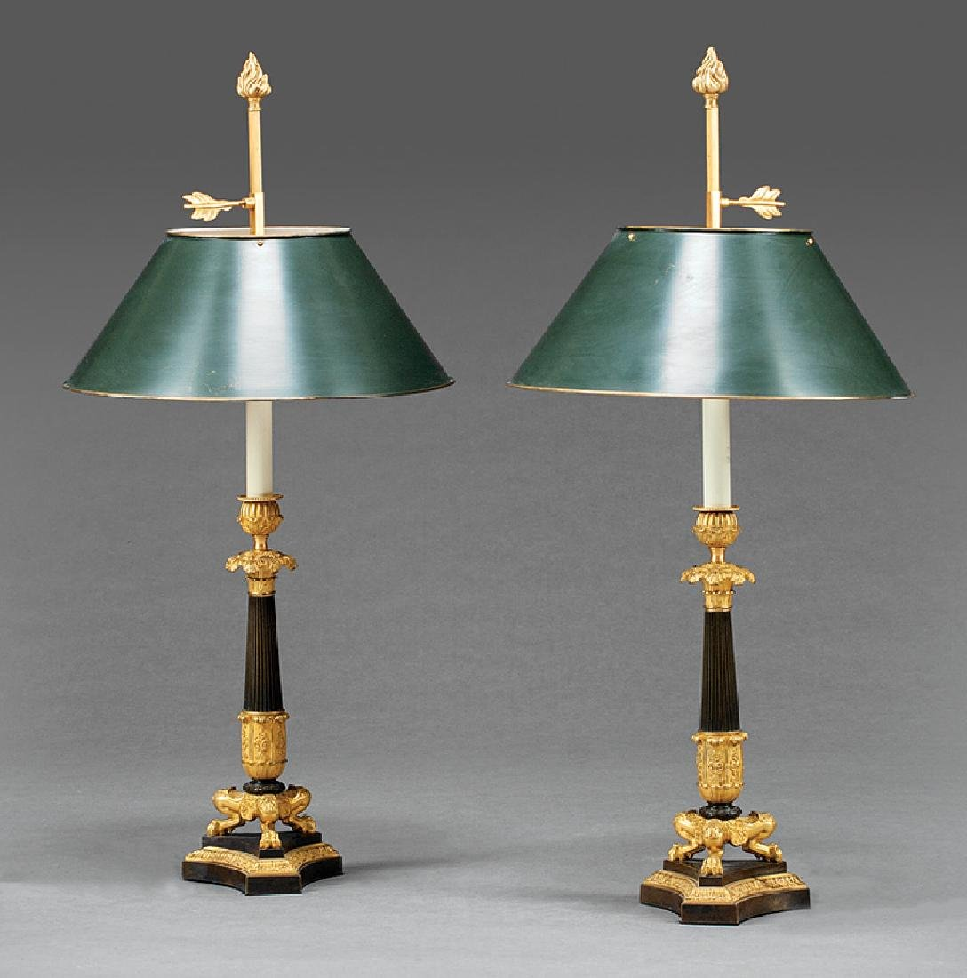 Fine Pair of French Gilt Bronze Candlesticks