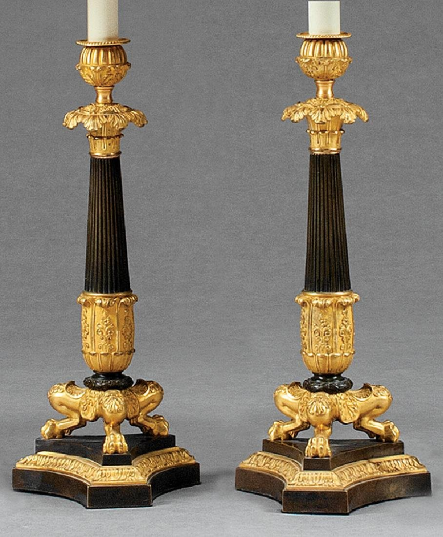 Fine Pair of French Gilt Bronze Candlesticks - 2