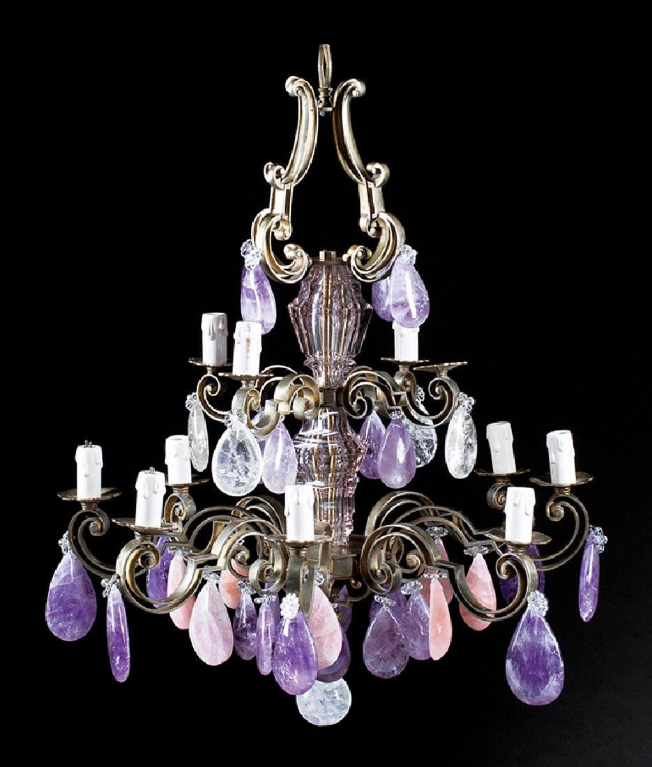 Bronze, Rock Crystal, Quartz Chandelier