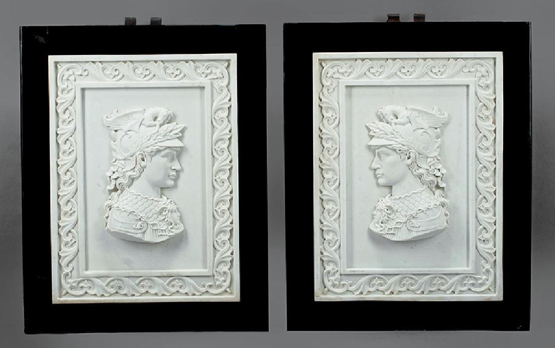 Framed Italian Carrara Marble Portrait Reliefs