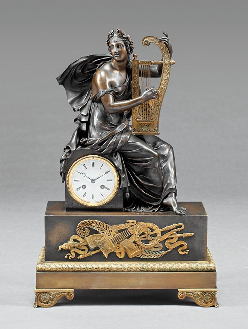 Louis Philippe Gilt and Patinated Bronze Clock