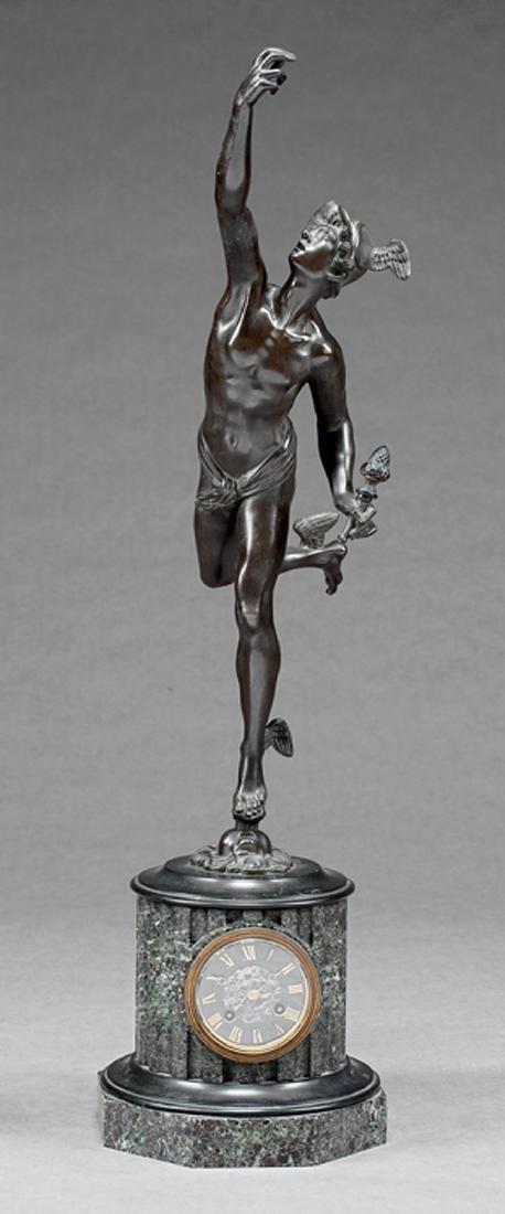 Napoleon III Patinated Bronze and Marble Clock