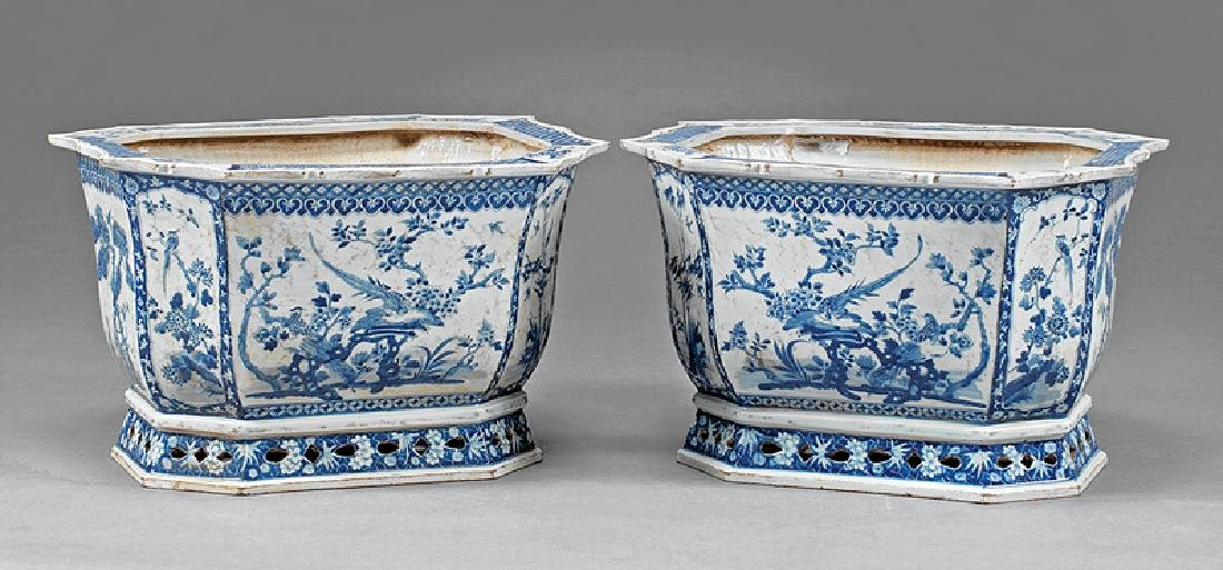 Chinese Export Blue, White Porcelain Jardiniers