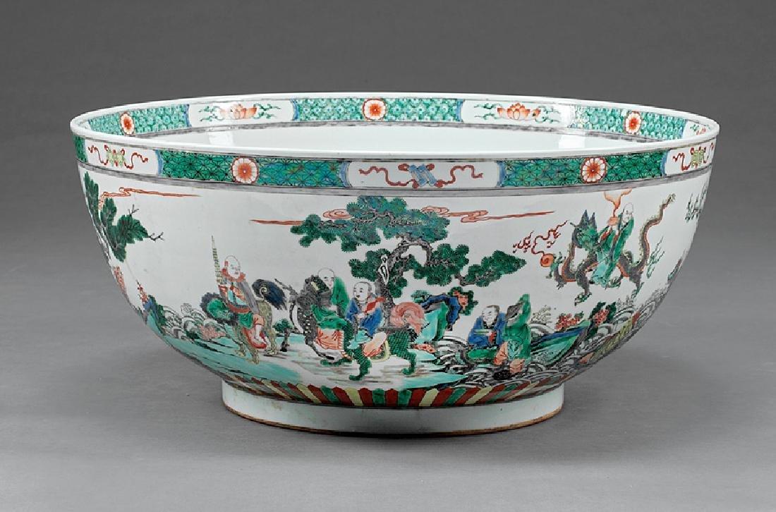 Chinese Famille Verte Porcelain Punchbowl