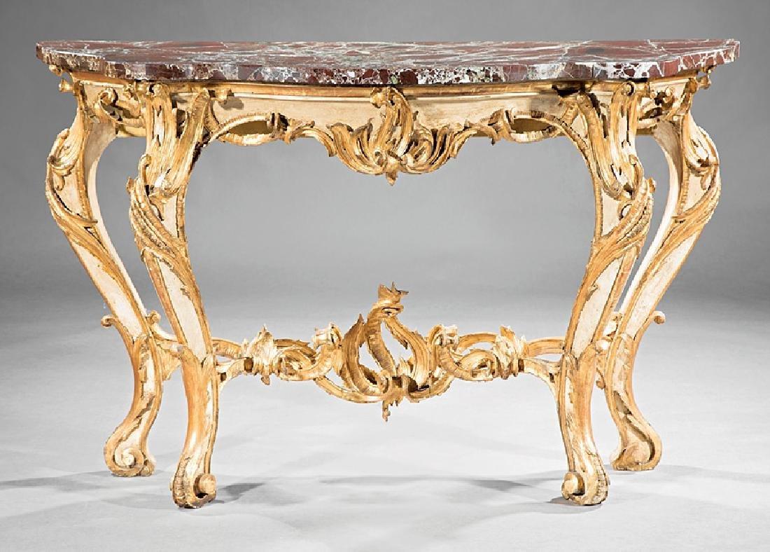 Italian Rococo Gilt, Creme Peinte Console Table