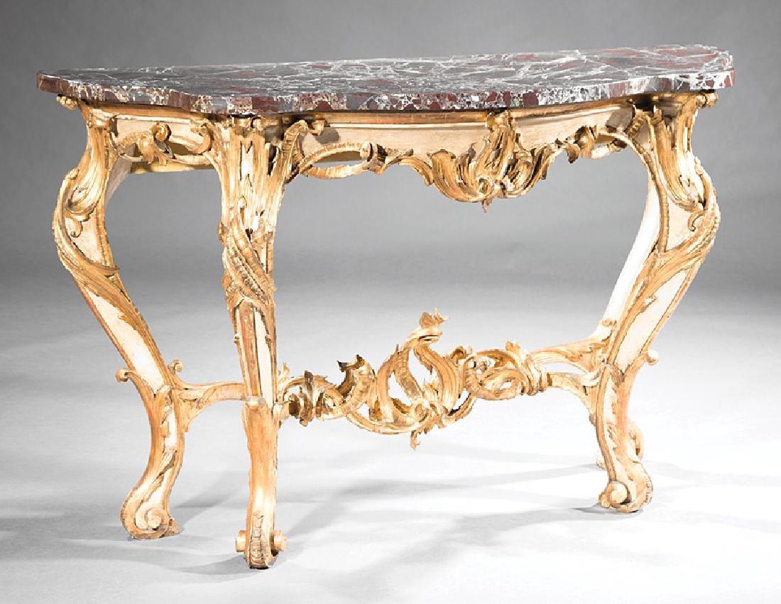 Italian Rococo Gilt, Creme Peinte Console Table - 2