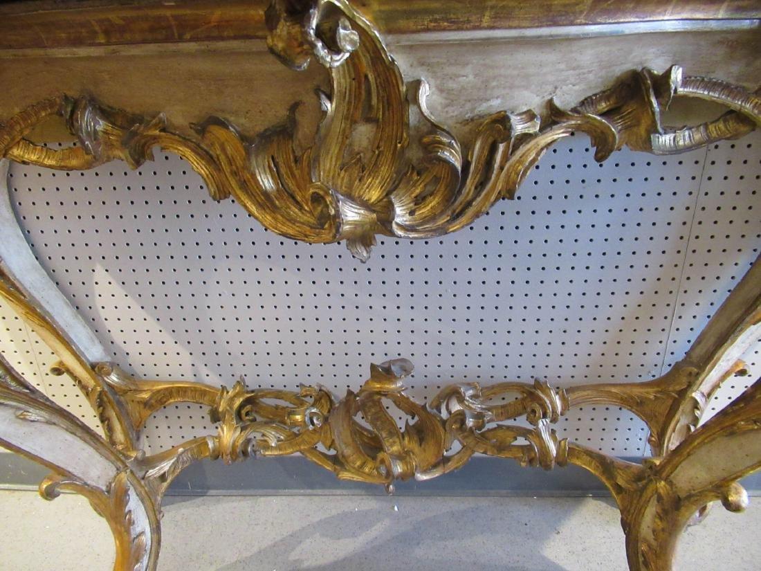 Italian Rococo Gilt, Creme Peinte Console Table - 4